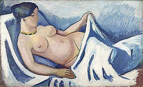 August Macke - Female nude, lying