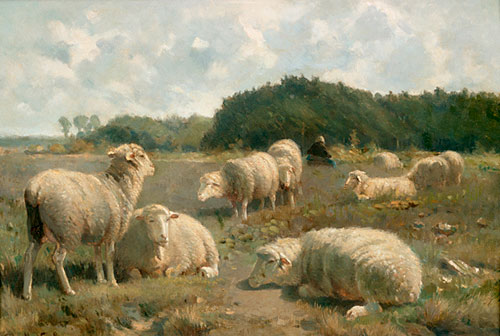 Cornelis van Leemputten - Flock of sheep in summerlike landscape