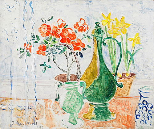 Oskar Moll - Flower still life at a window