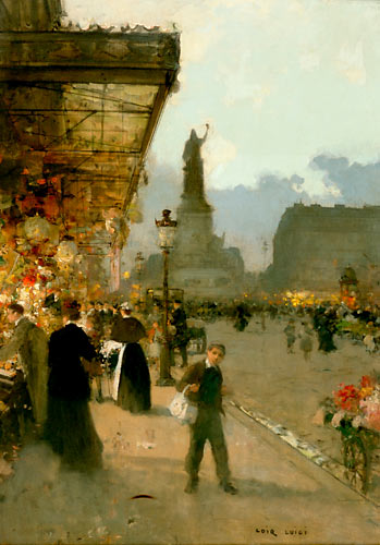Luigi Loir - Flowers market at the Place de la R�publique in Paris