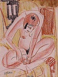 Ernst Ludwig Kirchner - Female nude squating