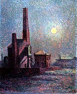 Maximilien Luce - Factory in Moonlight