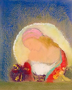 Odilon Redon - Profile of a Girl with Flowers