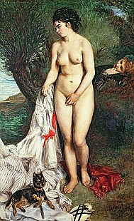 Pierre-Auguste Renoir - Bather with a Griffon dog
