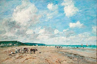 Eugéne Boudin - The Beach at Tourgeville