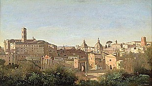Jean Baptiste Camille Corot - The Forum seen from the Farnese Gardens, Rome