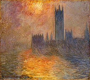Claude Monet - The parliament in London in the sunset