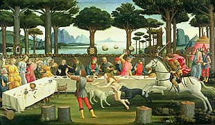 Sandro Botticelli - The Story of Nastagio degli Onesti: Nastagio Arranges a Feast at which the Ghost