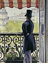 Man with a top hat on a balcony at Boulevard Hausmann