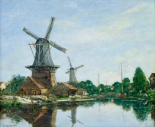 Eugéne Boudin - Dutch Windmills