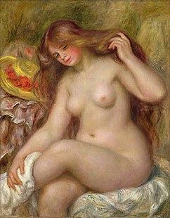 Pierre-Auguste Renoir - After taking a shower. Young girl with long blonde hair