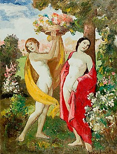 Bela Ivaniy-Grünwald - Female Nudes at a summer meadow