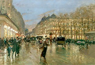 Luigi Loir - Evening on the Boulevard in Paris