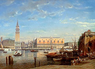 Julius Eduard Helfft - View of Piazetta in Venice