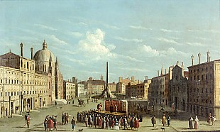 Bernardo Bellotto - Umfeld des Canaletto - Rom-Piazza Navona with theatre