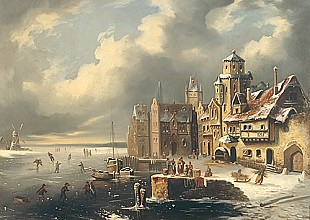 Elias van Bommel - Ice skating on a frozen river near a dutch coast city