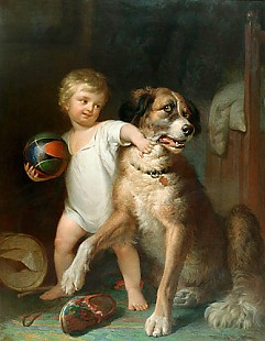 Paul Martin - Lad with a dog playing