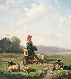 Johann Baptiste Wengler - Summerday at the sheep-run