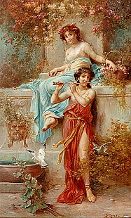 Hans Zatzka - Flute player with friend