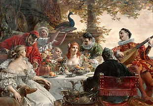 Ferdinand Wagner d. J. - Festive company with mandolin player