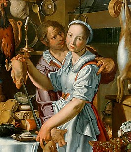 Joachim Antonisz. Wtewael - Kitchens scene with lass and servant