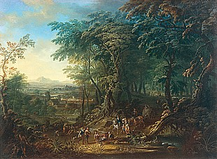 Johann Jacob Hartmann - Wooded landscape with travellers