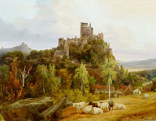 August Wilhelm Ahlborn - View at a castle in Bolkenhain in Silesia