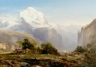 Anton Hansch - The Lauterbrunnervalley with Wengernalpe and Staubbachfall