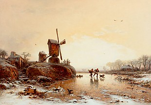 Eduard Hildebrandt - Ice runner on the frozen river at the windmill