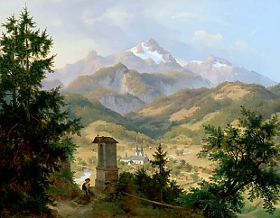 Eduard Biermann - View onto Berchtesgaden and the Watzmann