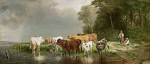 Münchener Maler - Cowherd with his herd