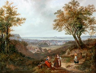 Siegfried Bendixen - Brushwood collectors on an elevation near the city