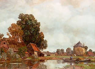 Gilbert von Canal - Clouds in summer above a landscape with a river