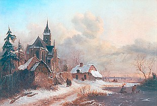 Anton Doll - Umkreis - Church in winter landscape