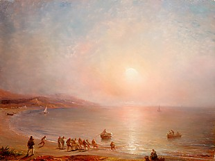 Hermine Gudin - Evening sea bay with fishermen while hauling inboard the net