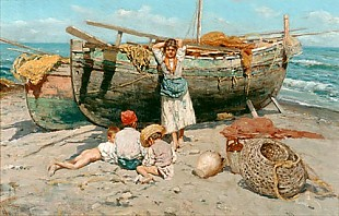 J. Giardiello - Fisherman girl and children at the sandy beach of a south Italian harbour