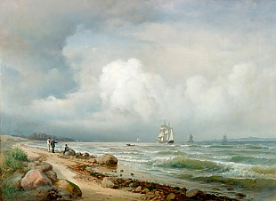 Anders Andersen-Lundby - Far beach landscape with sailboats in the coasts waters