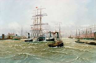 Alfred Jensen - Harbor of Hamburg with three-master and numerous of steamboats