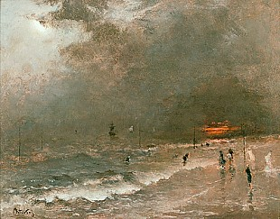 Alfred Stevens - Storm at the beach of Scheweningen