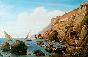 Wilhelm Brücke - Fishermen at the coast near Amalfi