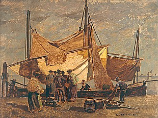 Ludwig Dill - Arriving fisher boats, Chioggia