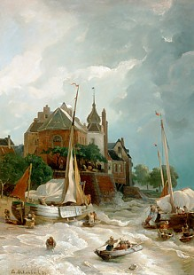 Andreas Achenbach - A city with old tower and rampart
