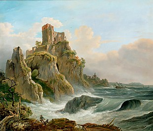 Joseph Carl Cogels - Steep coast with castle at a stormy day