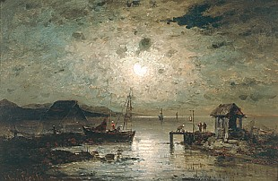 Amelie Lundahl - Coastscene in moonlight