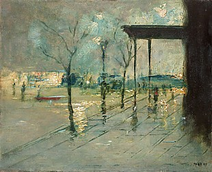 Pariser Maler - Place in a big city in the evening after rain