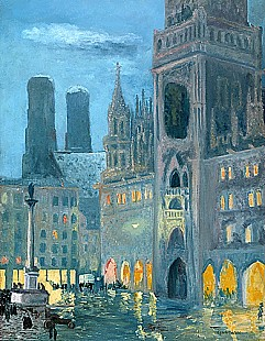 Charles Palmié - Winter evening at Munich Marienplace