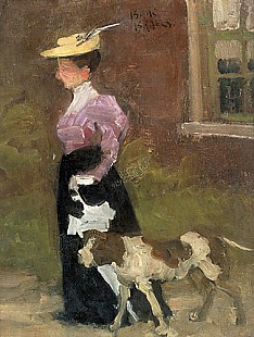 Isaak Israels - Lady with dog