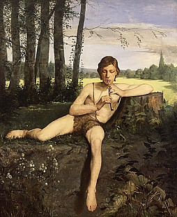 Hans Thoma - Flute playing boy