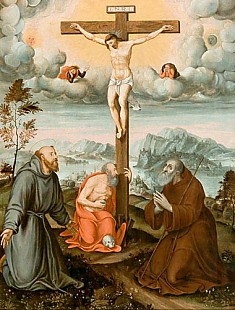 nordital. Maler - Christ at the Cross, sourrunded by the holy Hieronymus, Antonius&Franz of Assisi
