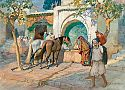 Oriental scene with arabs and horses at a shadily place with a fountain